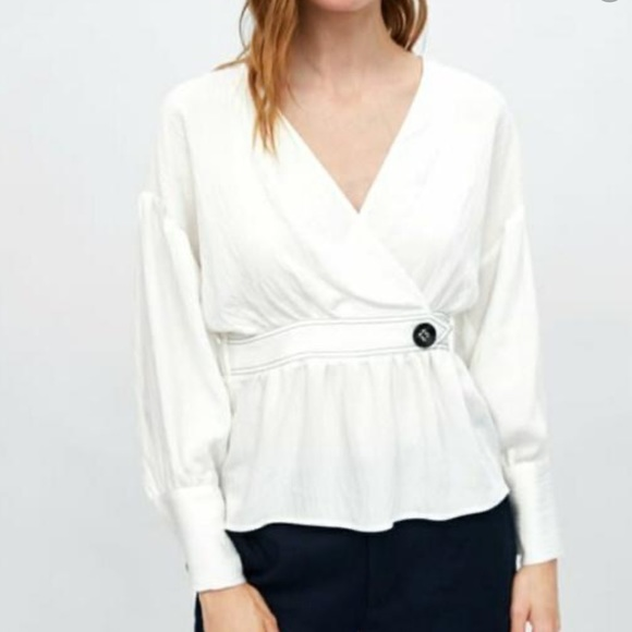 Zara white wrapped blouse with buttons